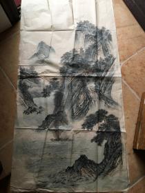 山水画【山水人物画。无款】尺寸132x67 ,出自名家之手