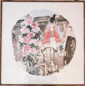 中美协会员,人物画名家王良民老师四尺斗方新作,带框出售,实物更漂亮