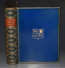 1877年Poetical Works of Henry Wadsworth Longfellow《朗费罗诗集》全意大利小牛皮善本 John Gilbert 钢版画插图初版本 品相绝佳