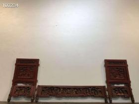 清代,鎏金朱红漆人物故事老木雕花板雕刻精美人物生动