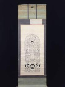 【全场包邮】原装旧裱大幅 佛像  人物古版画立轴一件(回流书画精品)