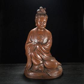 老紫铜錾刻祥云如意纹饰观音菩萨坐像佛像铜器摆件供奉收藏古玩