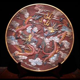 剔红漆器彩绘二龙戏珠赏盘