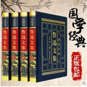 【皮面烫金】鲁迅文集(精装本-全套4卷本)(金色书架①