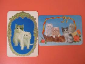 1978年年历片 【猫】凹凸版2张合售