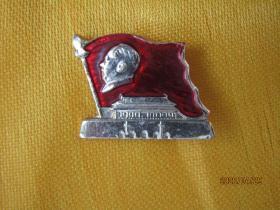 文革毛主席像章:红旗