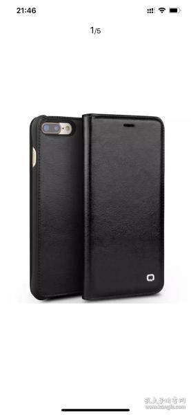 洽利(QIALI) 真皮苹果SE2/7/8手机套保护壳皮套防摔 适用于苹果iphone7plus 5.5英寸iphone7/8 plus纤薄经典黑