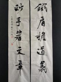 南京著名书法家 李啸书法对联一幅,尺寸136*68厘米,保真!