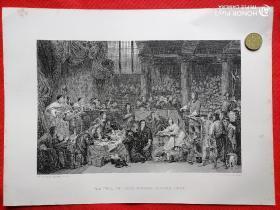 19世纪欧洲钢版印画(一版一印,保真可鉴,收藏珍品):THE  TRIAL  OF  LORD  WILLIAM  RUSSELL:1683(大意为1683年的政治辩论)@包快递