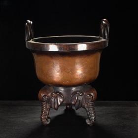老弘亭款紫铜刻丝错银福寿纹三象足绳耳香炉熏炉收藏铜器古玩