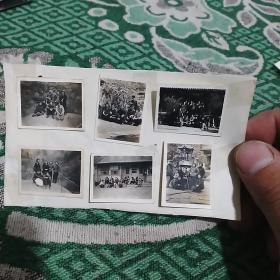 文革青年合影照 6张合售(附在一张纸上了)