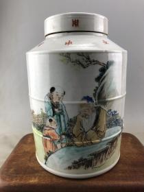 粉彩人物老瓷罐B2935