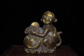早期收藏 黄铜仿紫铜鎏金钱袋猴子摆件