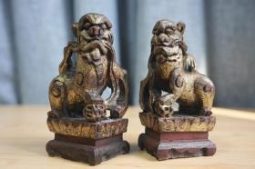 清代老木雕狮子木结子案头狮摆件文房清贡神像装饰 品相尺寸如图5