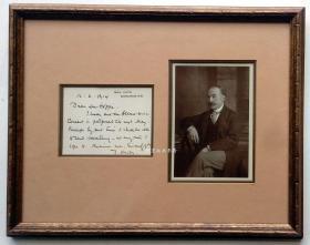 托马斯·哈代1914年致摄影家Emil O.Hoppe信札配原版照片Thomas Hardy名人信札精品
