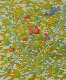 名家江树海画作---看石果