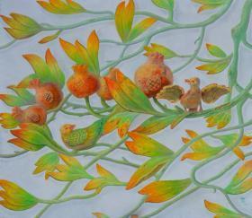 名家江树海画作---喜鹊望子