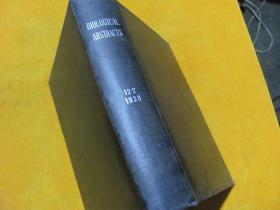 BIOLOGICAL ABSTRACTS 1938年12卷2期  英文原版 【皮面精装】