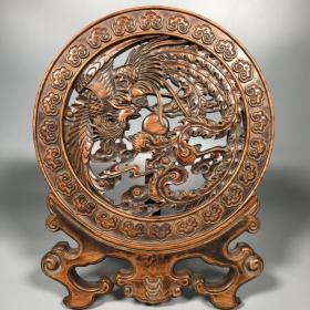 旧藏黄杨木镂空雕刻【丹凤朝阳】两体屏风摆件 重780克