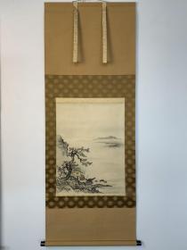周文  江天远意图    木版手拓挂轴