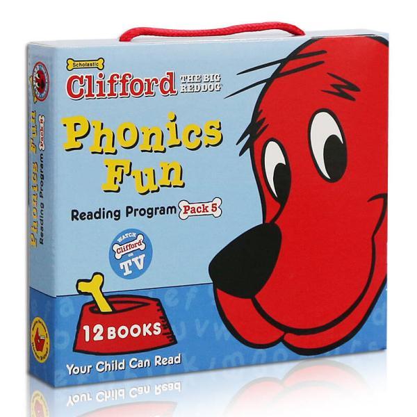 Clifford Phonics Fun Box Set #5 (Books + CD)  大红狗趣味自然拼读套装5,12册书附CD