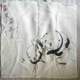 友谊商店出口外宾真丝国宝大熊猫手帕布手绢四川 成都