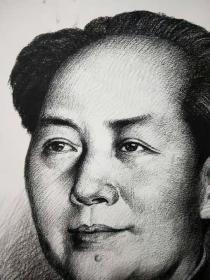 铅笔手绘伟人毛主席画像!刘文西手绘签名,手绘伟人毛泽东铅笔肖像素描画像