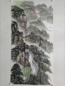 保真书画,当代山水画名家秦保家老师四尺整纸《渠水绕太行》一幅