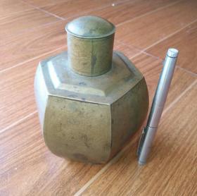 清代罕见腐蚀大满工茶叶罐,铜胎,题诗文,画艺甲骨