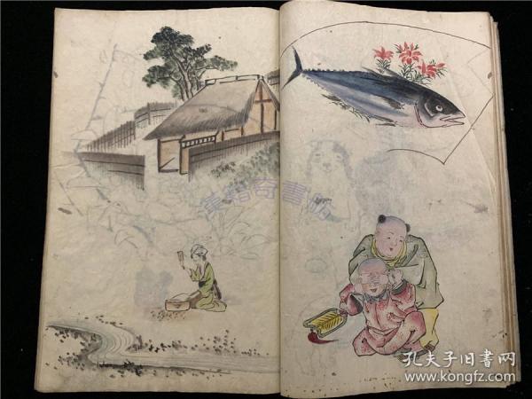 春筍堂秘藏抄本《畫家新舊真偽雜記》1冊全,古代中國書畫藝術之類隨筆,文中有唐代朱印泥使用的藥材秘方、日本朱印色配料等。后半部分有一些日本山水人物畫稿。