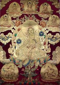 【绿度母】高端金箔唐卡,尼泊尔名亲家工手绘