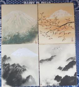 日本回流字画 卡纸 115 横山大观印  原装木盒 包邮