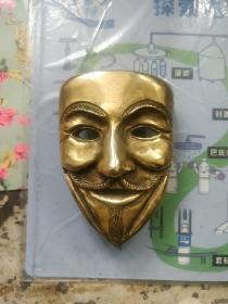 V字仇杀队 V造型人物面具 (纯铜)皮带扣 英国匠人纯手工打造,英国2010前后参考价格128英镑!