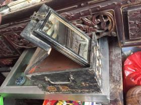 潮汕古代梳妆盒,带镜子和两抽屉