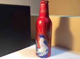 百威啤酒生肖鸡年纪念铝瓶 谢谢啦 空瓶收藏 非可口可乐百事可乐纪念罐限量罐
