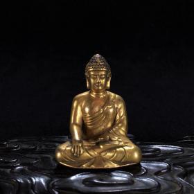 老铜鎏金錾刻释迦摩尼佛像小摆件古朴精美古玩收藏佛像