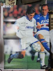 日文原版足球杂志《週刊サッカーダイジェスト》随刊附赠2开足球明星海报 吉安弗朗哥·佐拉(Gianfranco Zola)