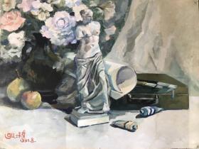 温州著名画家谷景贤先生水彩画 静物  出版过 68x45cm