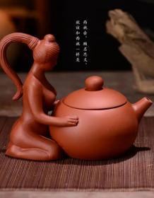 (朋友拍)宜兴紫砂茶壶陶瓷朱泥小壶提梁壶泡茶器 特色摆设 美女西施。不多介绍,具体看图