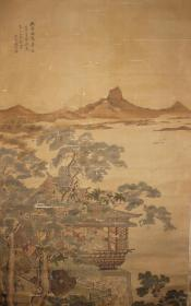 清代嘉庆五年(1800)进士 浙江杭州人 钱杜 江阁远帆 绢本立轴 原装裱