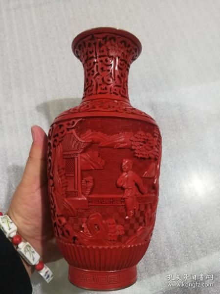 五十年代大漆景泰蓝瓶 剔红 雕工非常精美