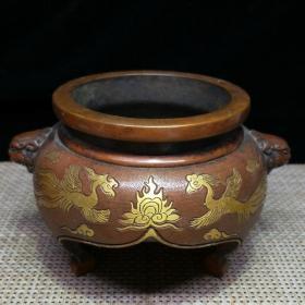 紫铜鎏真金香炉