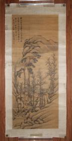 清代山水名家 江苏镇江人 张崟 纸本镜片 原装旧裱 清代绢本自然包浆 台湾购得