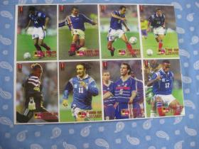 足球球星卡片16开(3国,共8人)2页【与正面对应,背面有球星照片,中文介绍】