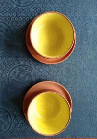 浩然斋 集藏紫砂器之五十五:稀见老紫砂杯  杯托 两套