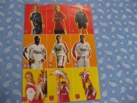 足球球星卡片16开(3球队,各3人,共9人)1页【背面有球星英文名中文介绍】