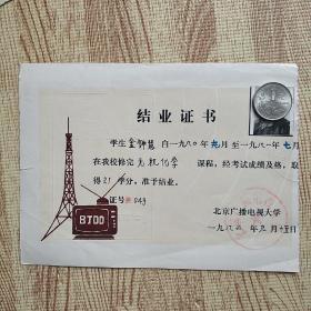 1982北京广播电视大学结业证书。