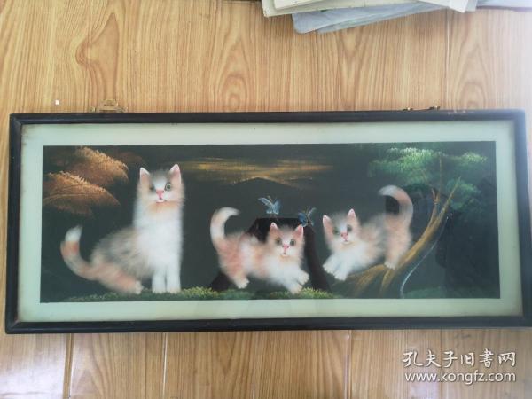 猫咪图(手绘油画背景)
