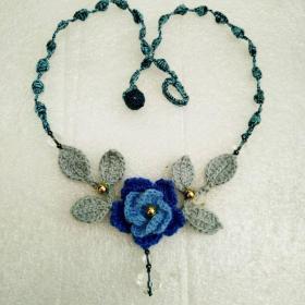 锁骨编织蓝花项链 (44cm  传统手工制作,时尚新潮,仅此一件,永不雷同  此件包邮)