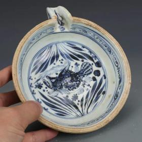 青花鱼藻纹耳洗